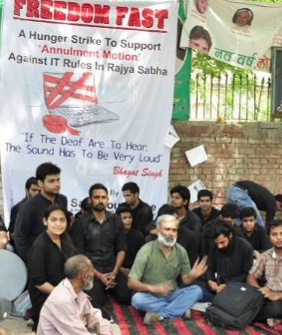 Freedom Fast hunger strike, India. Image courtesy 'I Love India'.