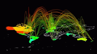 Global Internet traffic map by Joana Breidenbach. Approved for reuse.