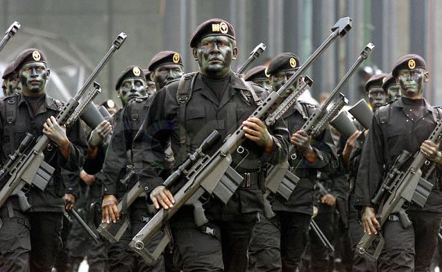 Mexican military forces in Michoacan. Photo by Diego Fernandez. Released to the public domain.
