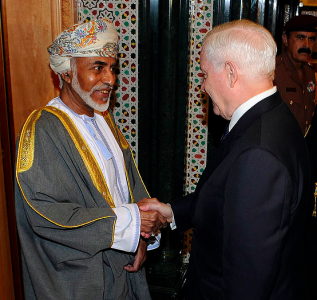 Sultan Qaboos and US Defense Secretary Robert Gates. Photo by Master Sgt. Jerry Morrison, U.S. Air Force. This image is in the public domain.