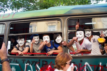 Protesters wearing 'Anonymous' masks in Istanbul on June 1, 2013. Photo by Marooncomtr. Copyright Demotix.