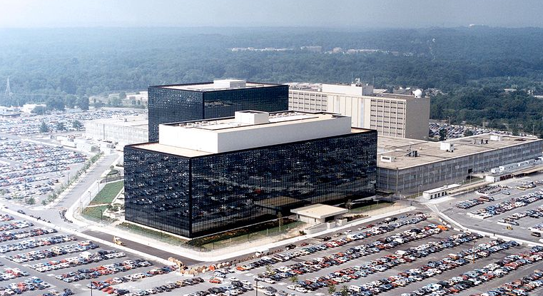 National Security Agency Headquarters. This photo has been released to the public domain via Wikimedia Commons.