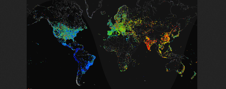 Carna Botnet geovideo of 24 hour relative average utilization of IPv4 addresses observed using ICMP ping requests. This work has been released into the public domain by its author, Internet Census 2012.