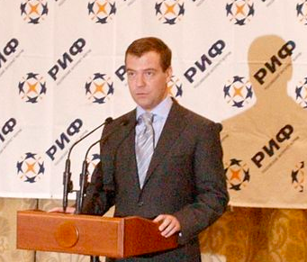 Dmitry Medvedev addresses the Russian Internet Forum in 2008. Photo by Yuri Sinodov via Wikimedia Commons (CC BY-SA 3.0)
