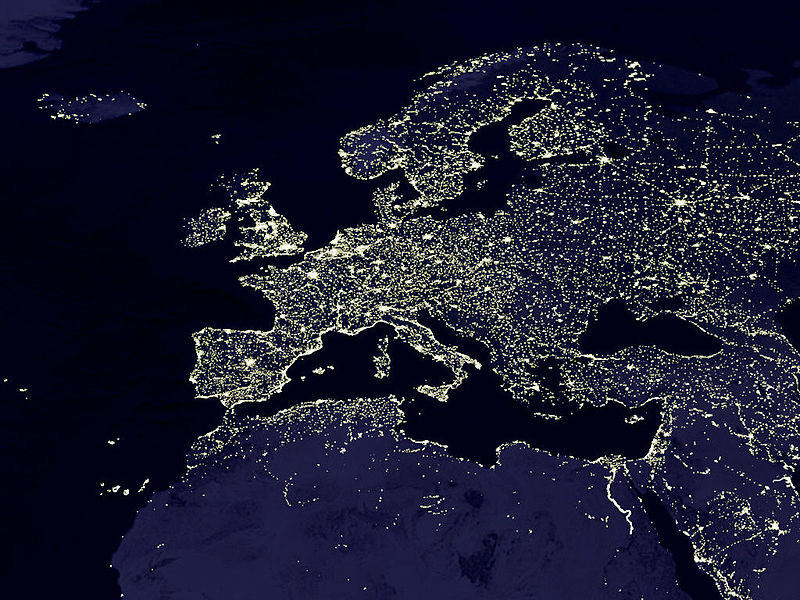 Europe by night. Data courtesy Marc Imhoff of NASA GSFC and Christopher Elvidge of NOAA NGDC. Image by Craig Mayhew and Robert Simmon, NASA GSFC. This image has been released to the public domain.