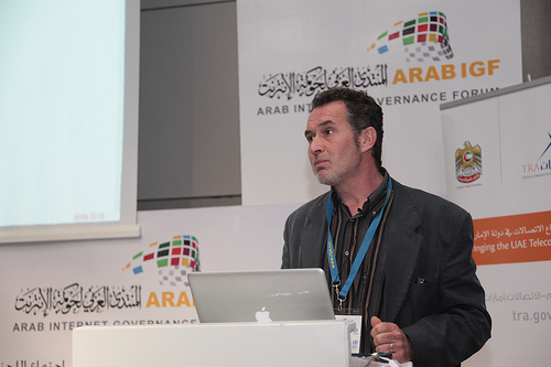 A speaker at the Arab Internet Governance Forum, held in Algiers. Photo by ICANN photos Flickr (CC BY-SA 2.0)