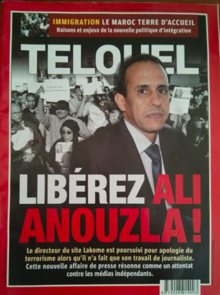 """Free Ali Anouzla!"" Cover of TelQuel Magazine"