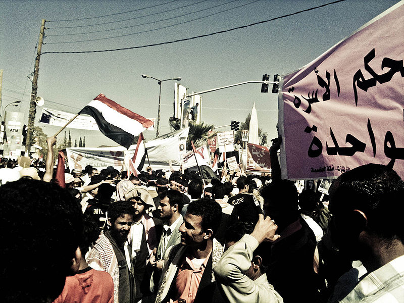 Demonstrators gather in Sana'a in 2011. Photo by Sallam via Wikimedia Commons (CC BY-SA 2.0)