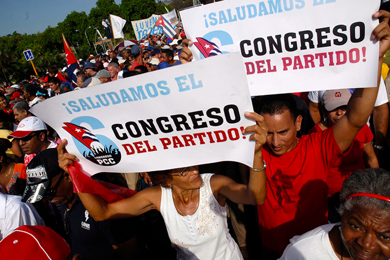 """We salute the party congress."" A 2011 pro-government rally in Havana. Photo by Reno Massola, labeled for reuse."