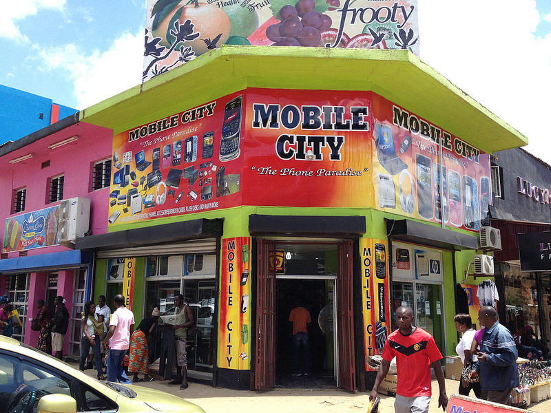 Mobile phone shop in Lusaka. Photo by Curious Lee (CC BY-NC-SA 2.0)