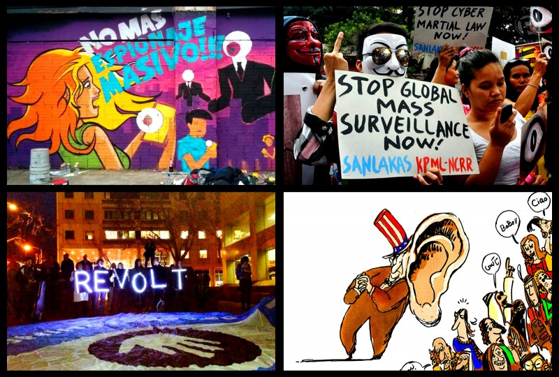 Images from February 11, from top left: a mural by War Design art collective in Bogota, Colombia; a public protest in Manila, Philippines (photo by ; a public rally in San Francisco, US (photo by Ellery Biddle); an anti-surveillance cartoon by Egyptian cartoonist Doaa Eladl.