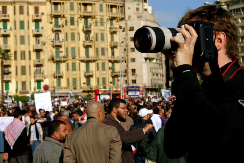 Photographer at a protest in Cairo. Photo by Rowan El Shimi via Flickr (CC BY-NC-SA 2.0)