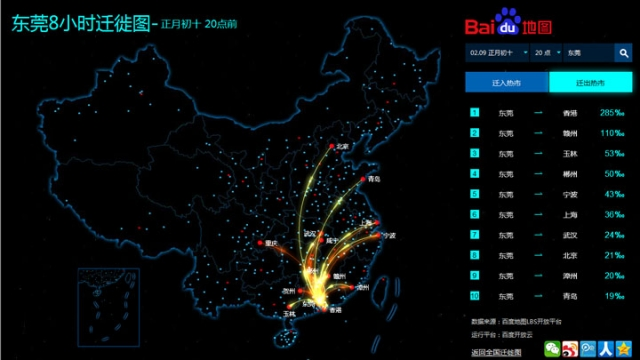 Baidu's 8-hour population flow map during the crackdown on prostitution in Dongguan city was released through Sina Weibo official account. Image via Apple Daily.