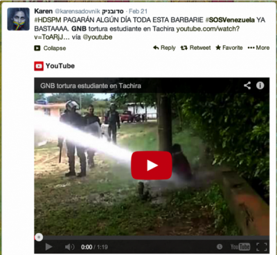 Screen shot of Twitter user sharing a YouTube video purporting to show police abuse of student protesters in Venezuelan city of Tachira, February 2014. The video was actually originally uploaded from an incident in Colombia in December 2013.
