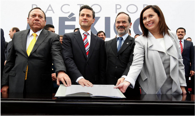 "Enrique Pena Nieto signs the ""Pact for Mexico"". Photo by the Office of the President via Flickr (CC BY 3.0)"