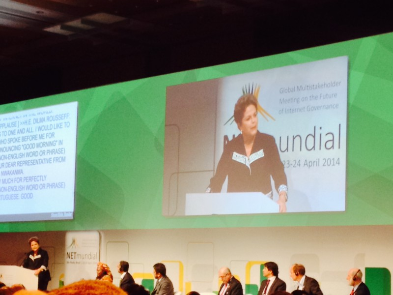Dilma Rousseff addresses the crowd at NETmundial. Photo by Sarah Myers.