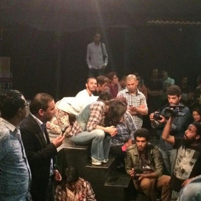 Supporters attend a sit-in at Al Hamra theatre in Tunis. Photo shared on Twitter by @awicksell.