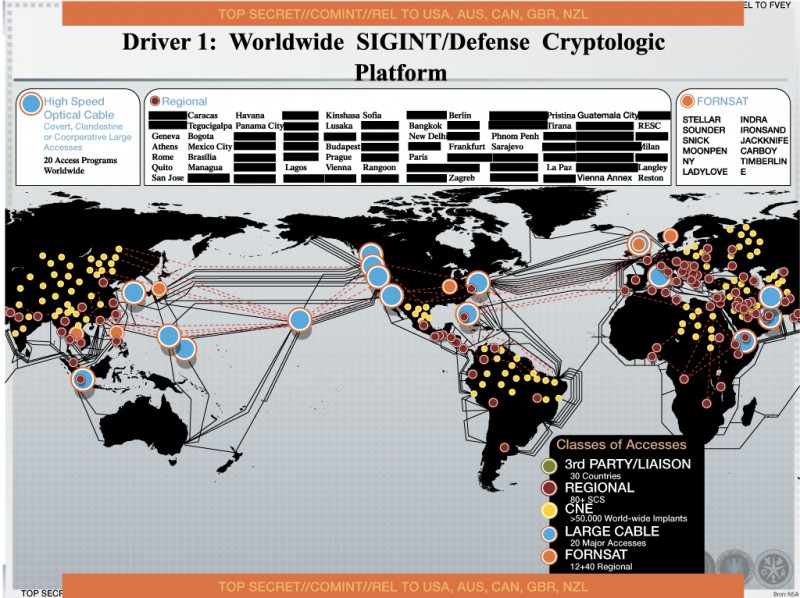 Worldwide NSA signals intelligence map leaked by Edward Snowden. By US National Security Agency, shared via Wikimedia Commons, released to public domain.