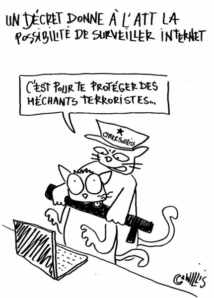 "cartoon by Willis from Tunis: a cyber police officer tells an Internet user ""This is to protect you from evil terrorists""."