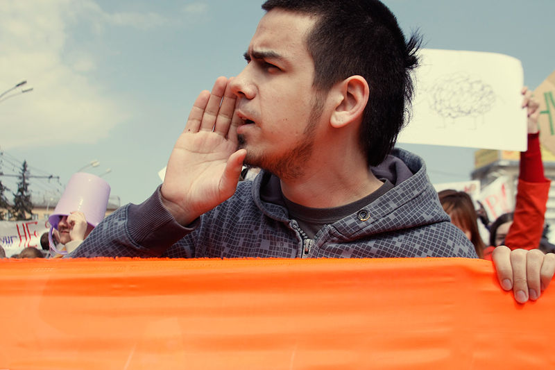 Artem Loskutov at the 2010 Monstration, a march that combines performance art and political protest, held annually in Novosibirsk and other cities across Siberia. Photo by Maya Shelkovnikova via Wikimedia (CC BY-SA 2.0)