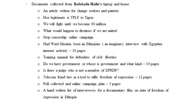 Evidence excerpt, Befeqadu