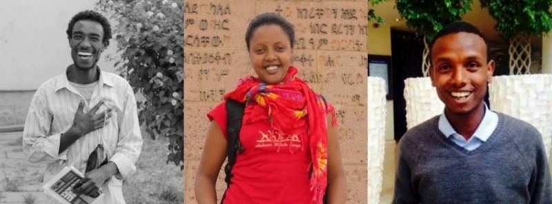 Zelalem, Edom, and Befeqadu, three jailed Global Voices authors in Ethiopia.