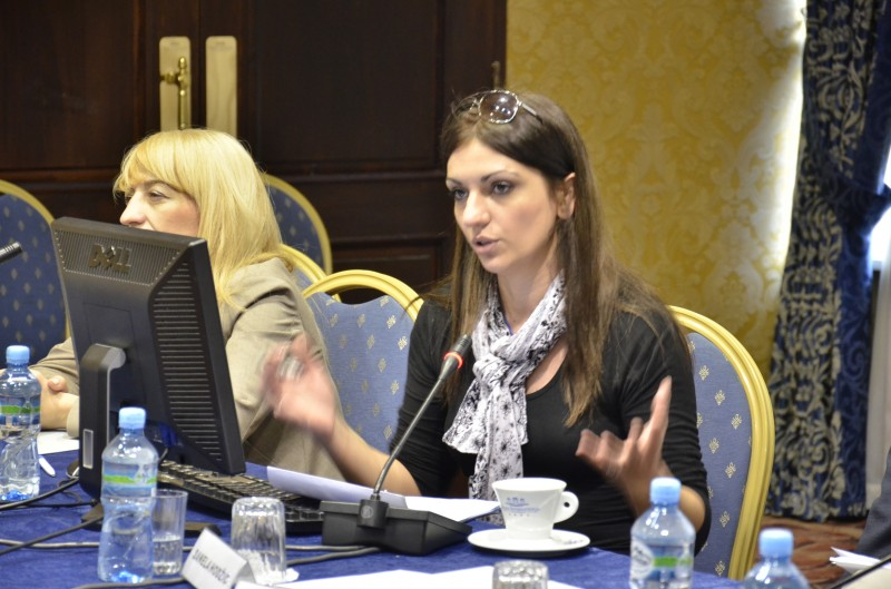 Meri Jordanovska speaking at a conference of the South East European Media Observatory. Photo credit: SEE.