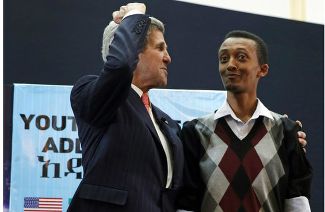 Natnael Feleke with John Kerry, 2013.