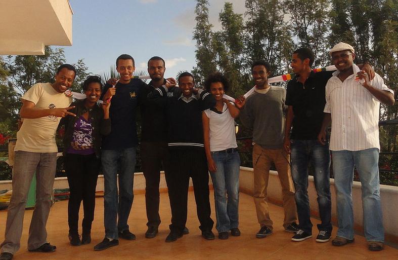 Founding members of Zone9. Left to right: Endalk Chala, Soliana Shimeles, Natnael Feleke, Abel Wabela. Befeqadu Hailu, Mahlet Fantahun, Zelalem Kiberet,  Atnaf Berahane.