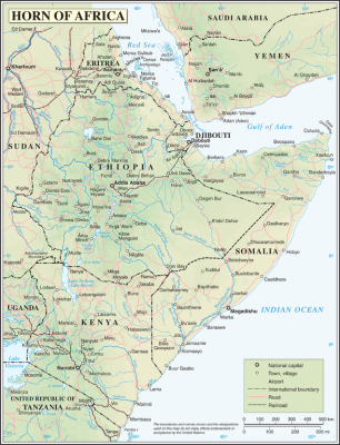 Horn of Africa. Map by UN, released to public domain.
