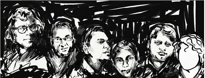 """Who will be next?"" Sketch of deceased Bangladesh bloggers by MadhuMondol."
