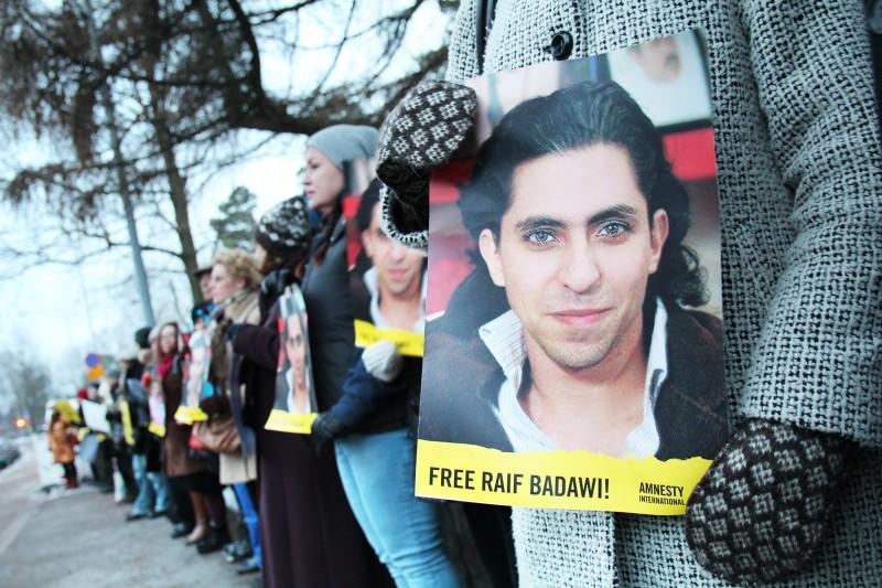 Protest demanding freeing Raif Badawy - Amnesty International (CC BY 2.0)