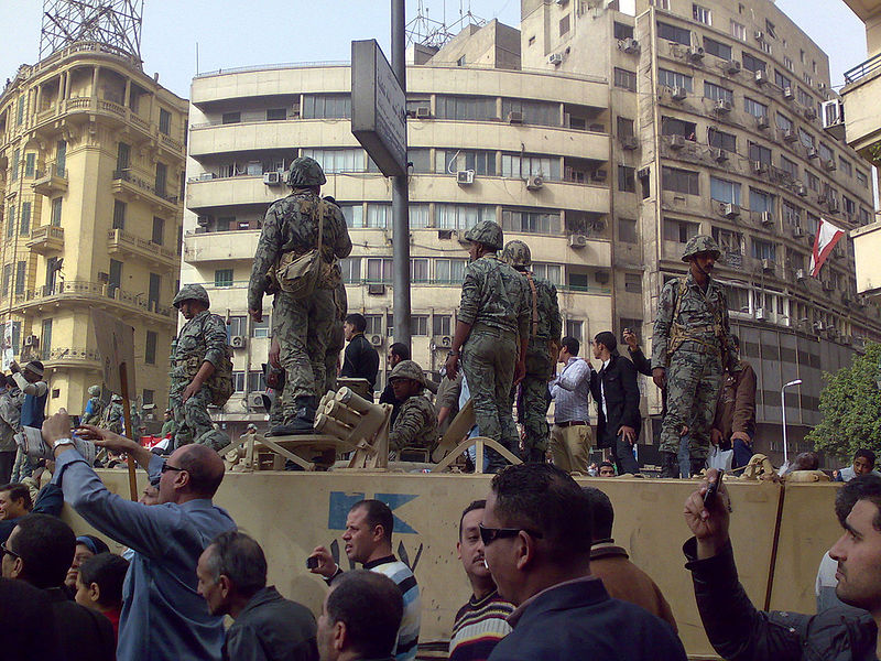 Army truck and soldiers in Tahrir Square, Cairo, January 2011. Photo by Ramy Raoof via Flickr (CC BY 2.0)