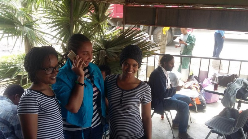 Edom Kassaye, Reeyot Alemu and Mahlet Fantahun, all released from prison on July 9, 2015. Photo posted on Twitter by Fisseha Fantahun.