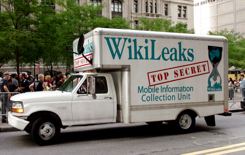 WikiLeaks truck at Occupy Wall Street, 2011. Photo by David Shankbone via Wikimedia Commons (CC BY 3.0)