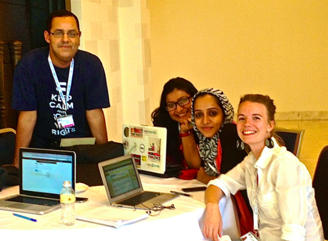 Hisham Almiraat, Nighat Dad, Sana Saleem and Ellery Biddle at IGF 2013 in Indonesia. Photo courtesy of Ellery Biddle.