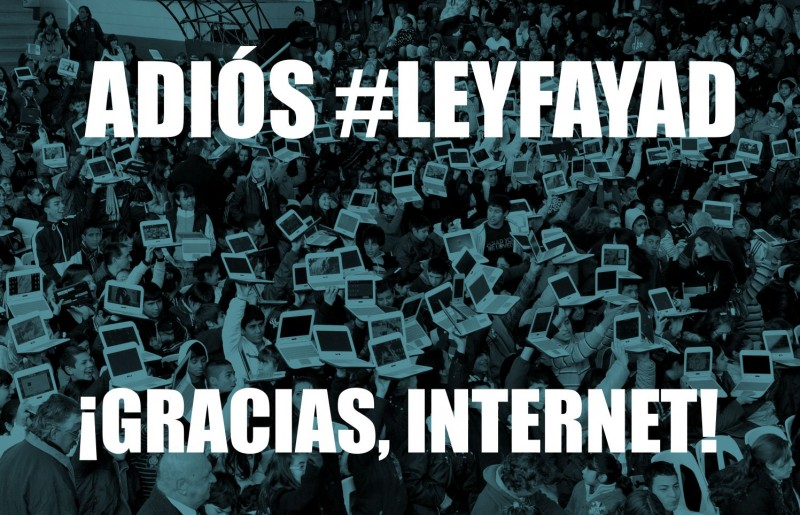 """GOODBYE #FAYADLAW / THANKS, INTERNET!"" Graphic created by digital rights group Contenido Libre, used with permission."