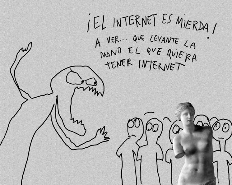 """The Internet is shit! Let's see… whoever wants Internet, raise your hand."" Cartoon by Lázaro Saavedra, reproduced with permission."