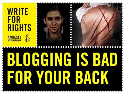 "Blogging is bad for your back .. in Saudi Arabia. Image used as part of an Amnesty International campaign to draw attention to the plight of Saudi blogger Raif Badawi, sentenced to 10 years in prison and 1,000 lashes in Saudi Arabia in 2014 for setting up a ""liberal"" website"