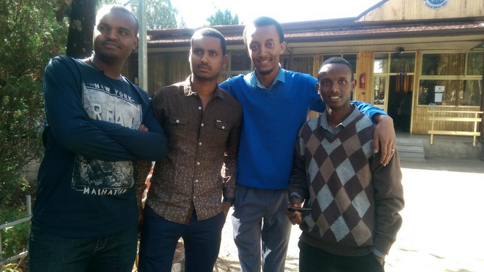 Zone 9 bloggers Abel Wabela, Atnaf Berahane, Natnael Feleke and Befeqadu Hailu. Photo by Mahlet Fantahun, shared on Twitter.