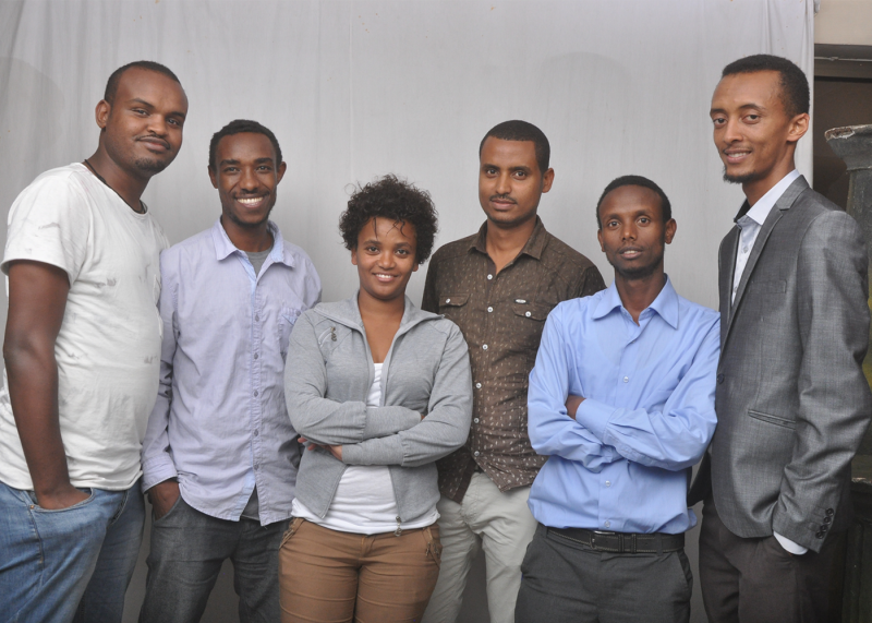 Zone9 bloggers left to right: Abel Wabela, Zelalem Kiberet, Mahlet Fantahun, Atnaf Berahane, Befeqadu Hailu, Natnael Feleke. Image via Martin Ennals Awards.