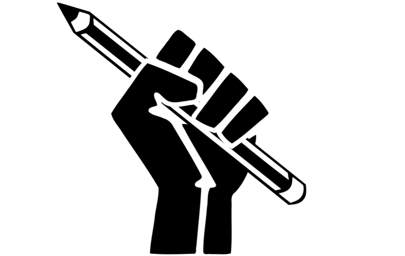 Fist with pencil, open clipart vectors via Pixabay. Licensed to public domain.