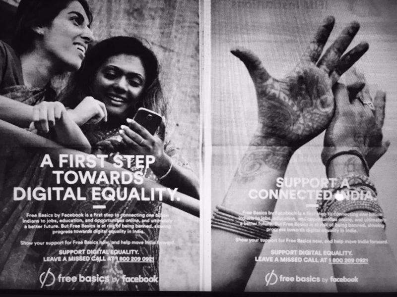 Annonces publicitaires de Free Basics de 2015. Des images largement partagées sur les médias sociaux.